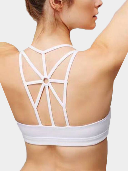 Yoins Medium Impact Anti-shock Round Neck Weave Design Sports Bra in White