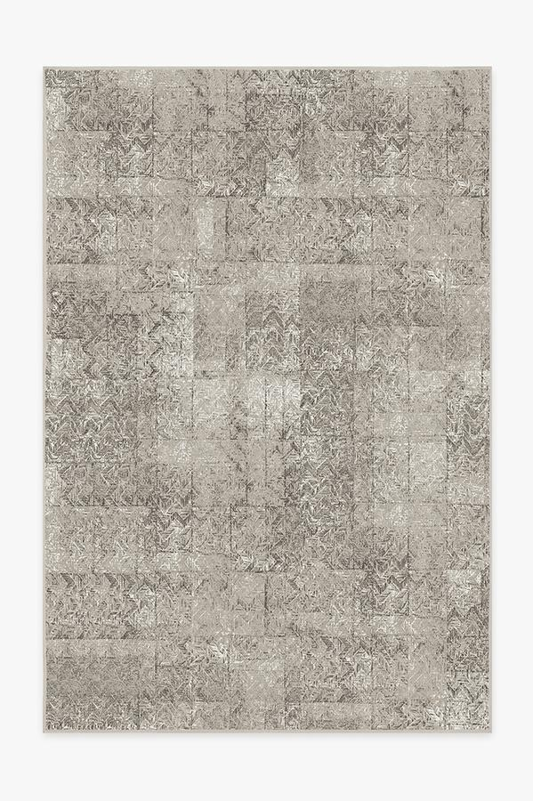 Washable Rug Cover | Herringbone Batik Ash Grey Rug | Stain-Resistant | Ruggable | 6'x9'