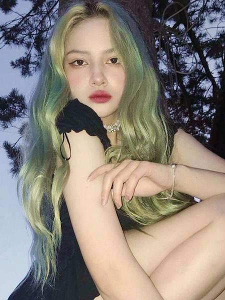Milanoo Pelucas de lolita verde menta Pelucas de cabello largo lolita de fibra resistente al calor