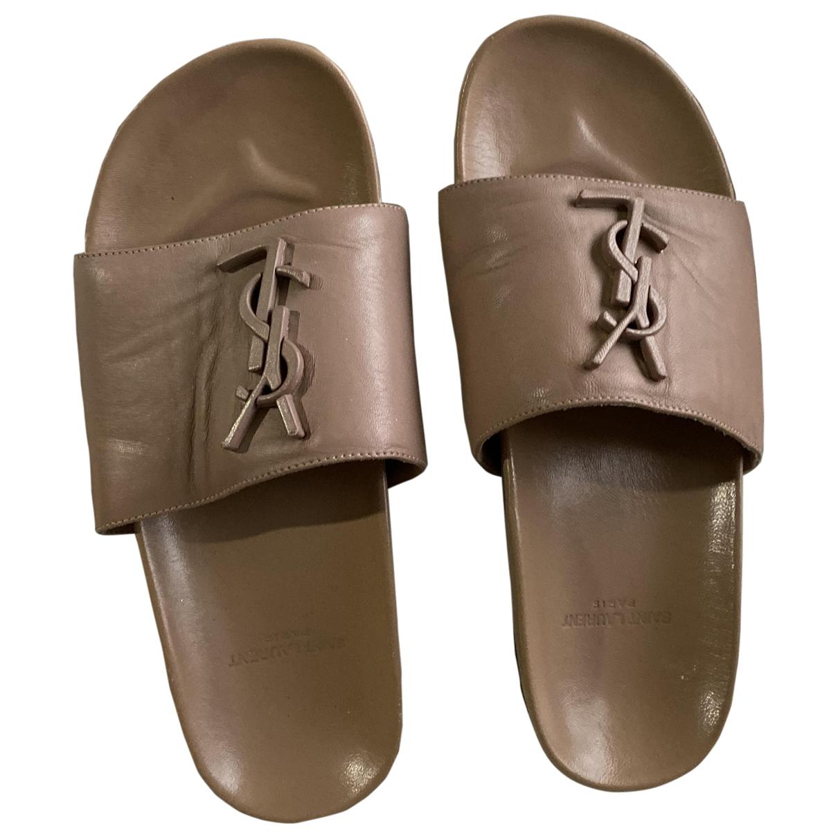 Saint Laurent \N Beige Leather Sandals for Women 36 EU