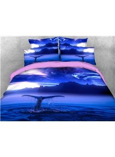A Dolphin's Tail Peeking Out of The Sea 3D Printed 4-Piece Polyester Bedding Sets/Duvet Covers