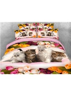 Four Cats Surrounded By Roses Warm 3D Printed 5-Piece Comforter Sets