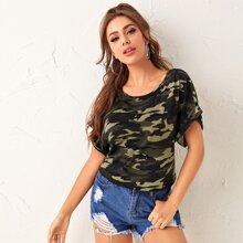 T-Shirt mit Raglanaermeln, gerollten Manschetten und Camo Muster