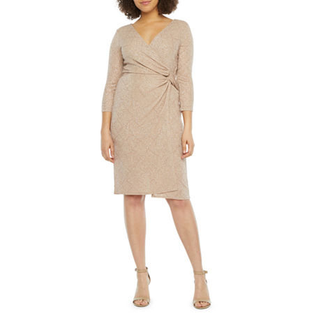 Blu Sage 3/4 Sleeve Glitter Knit Sheath Dress, 10 , Pink