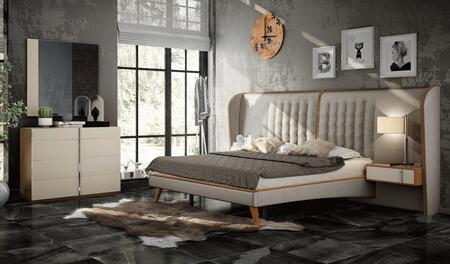 Cadiz CADIZBEDKS-2NSDRMR 5-Piece Bedroom Sets with King Sized Bed  2 Nightstands  Dresser and Mirror in