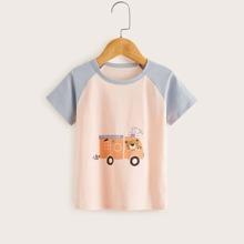Toddler Girls Cartoon Graphic Raglan Sleeve Tee