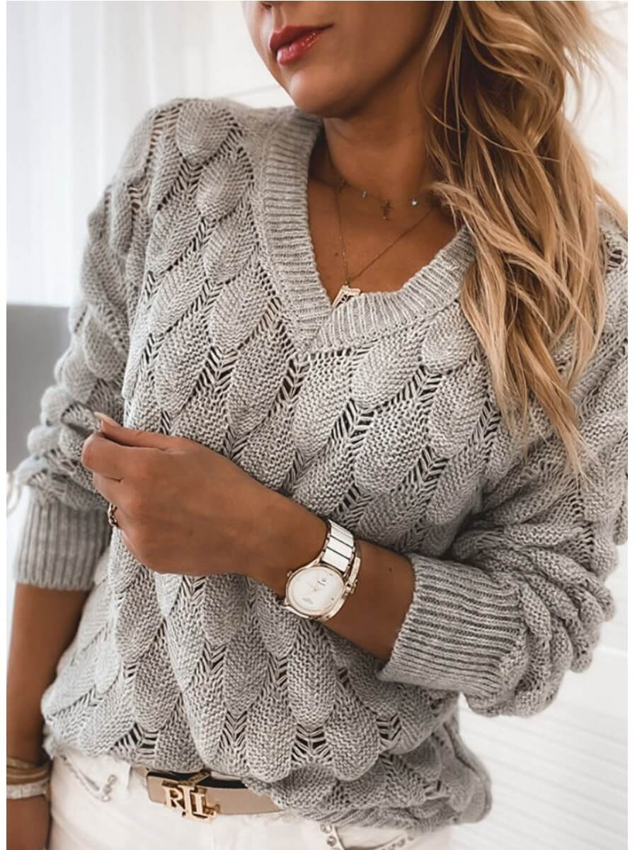 LW Lovely Chic V Neck Hollow-out Grey Sweater