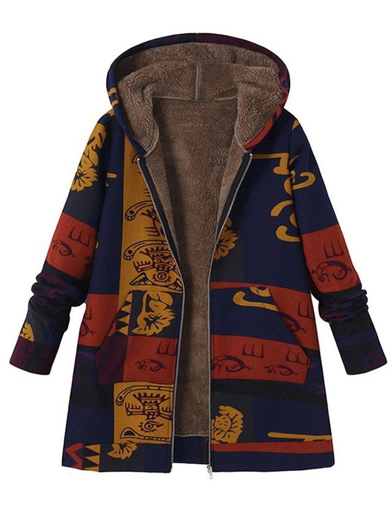 Ericdress Loose Hooded Zipper Long Sleeves Coat
