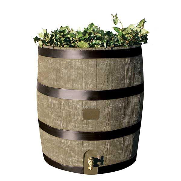 Round Rain Barrel with Planter, 35 gallon, Deco