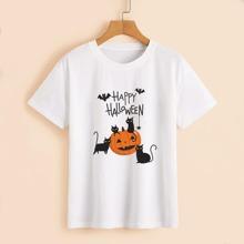 Halloween Pumpkin & Slogan Graphic Tee