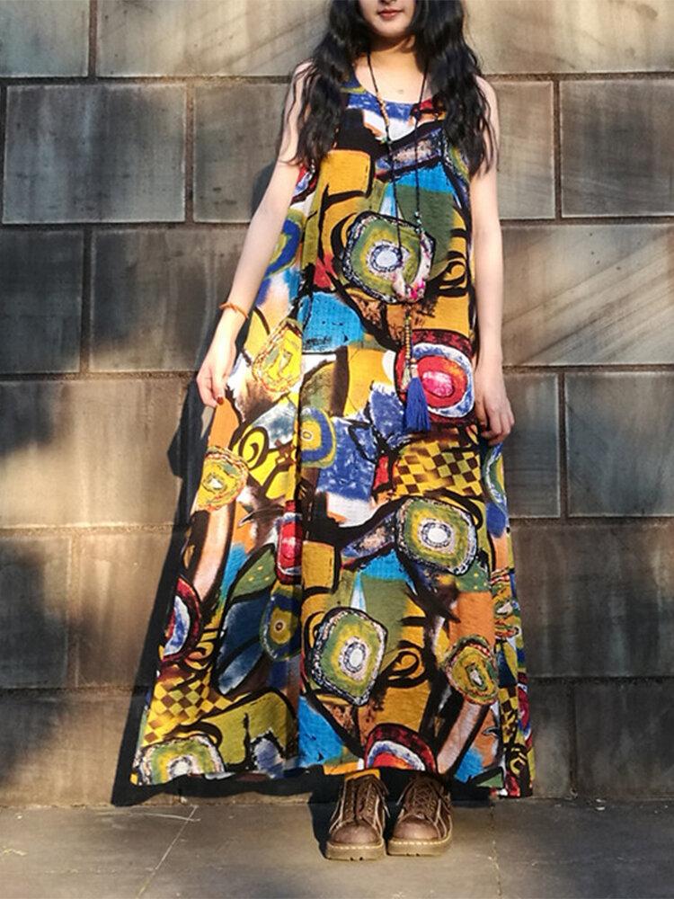 Casual Muliti-Colored Graffiti Printed O-neck Sleeveless Maxi Dress