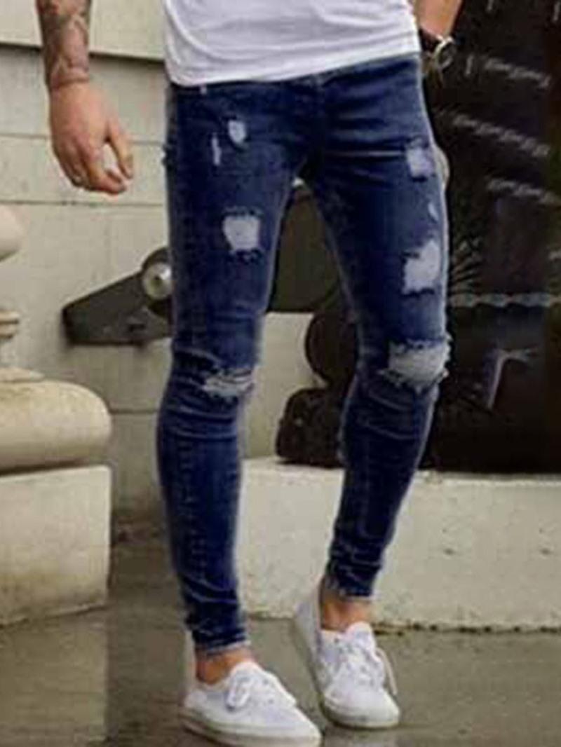 Ericdress Pencil Pants Plain Hole Mid Waist Casual Jeans