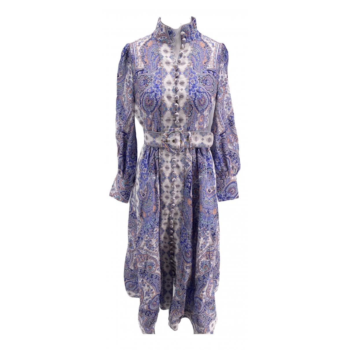 Zimmermann \N Kleid in  Blau Leinen