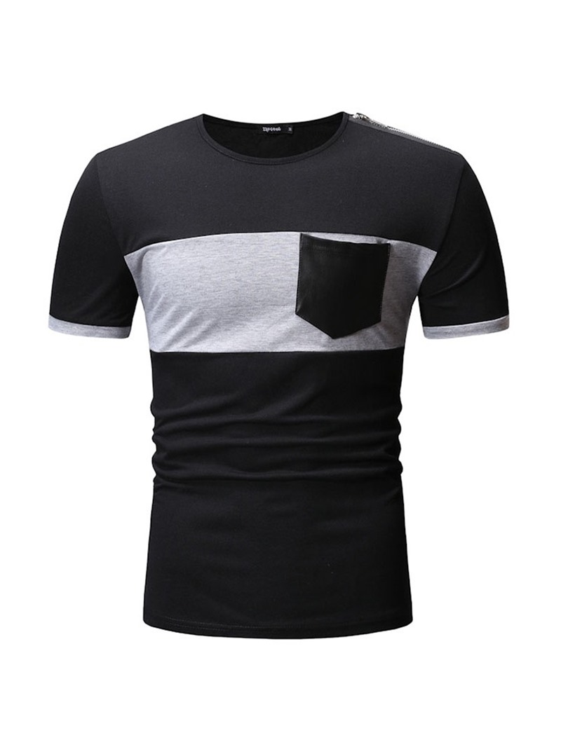 Ericdress Round Neck Color Block Pocket Loose Mens T-shirt