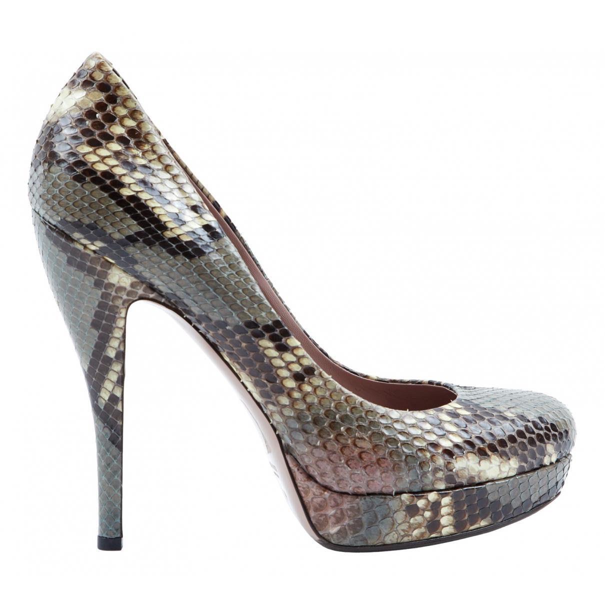 Gucci N Grey Python Heels for Women 40 EU
