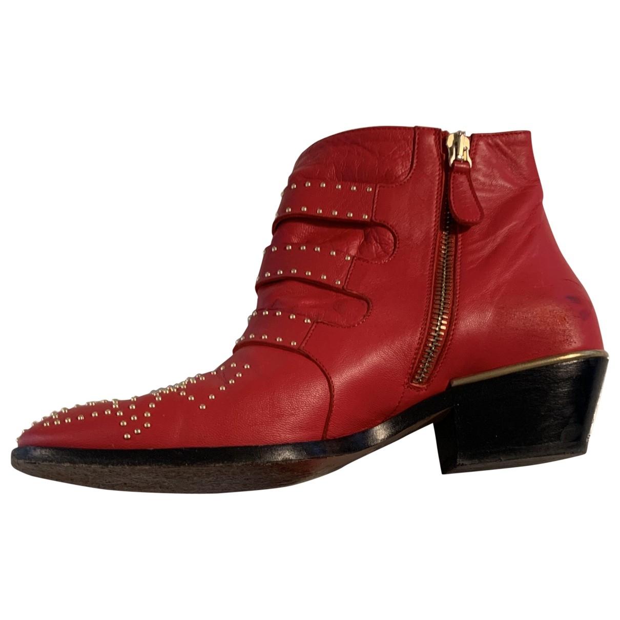 Chloe - Boots Susanna pour femme en cuir - rouge