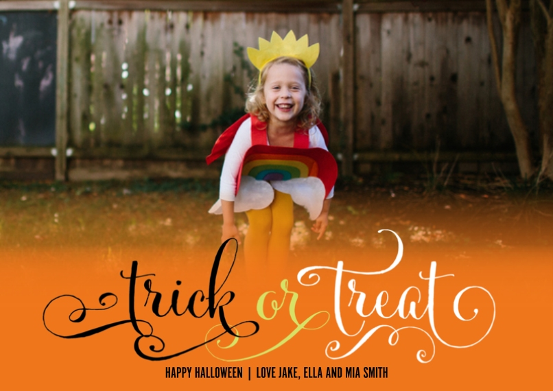 Halloween Photo Cards 5x7 Cards, Standard Cardstock 85lb, Card & Stationery -Fun Trick or Treat by Posh Paper
