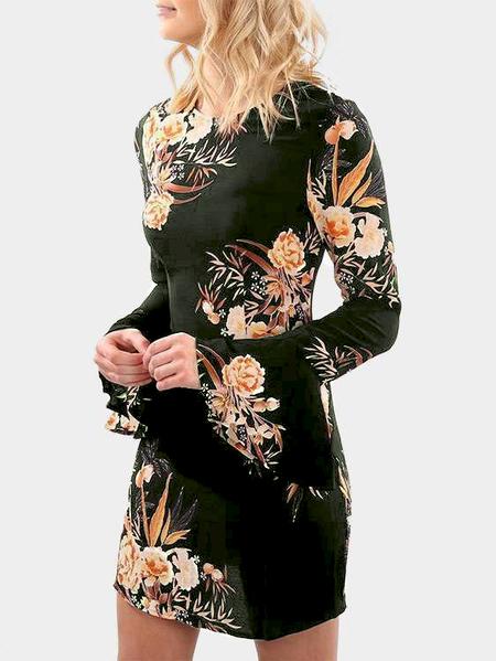 Yoins Army Green Random Floral Printed Long Sleeves Mini Dress