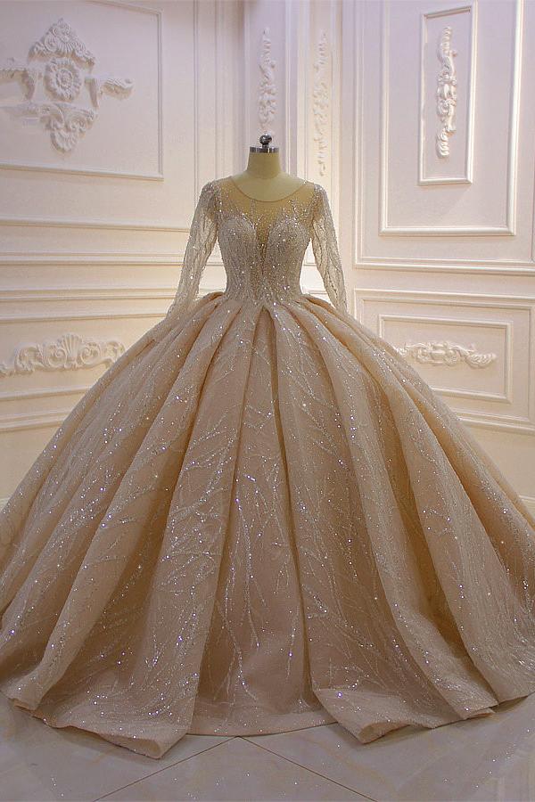 Vestido de novia brillante con volantes y mangas largas de tul con joya