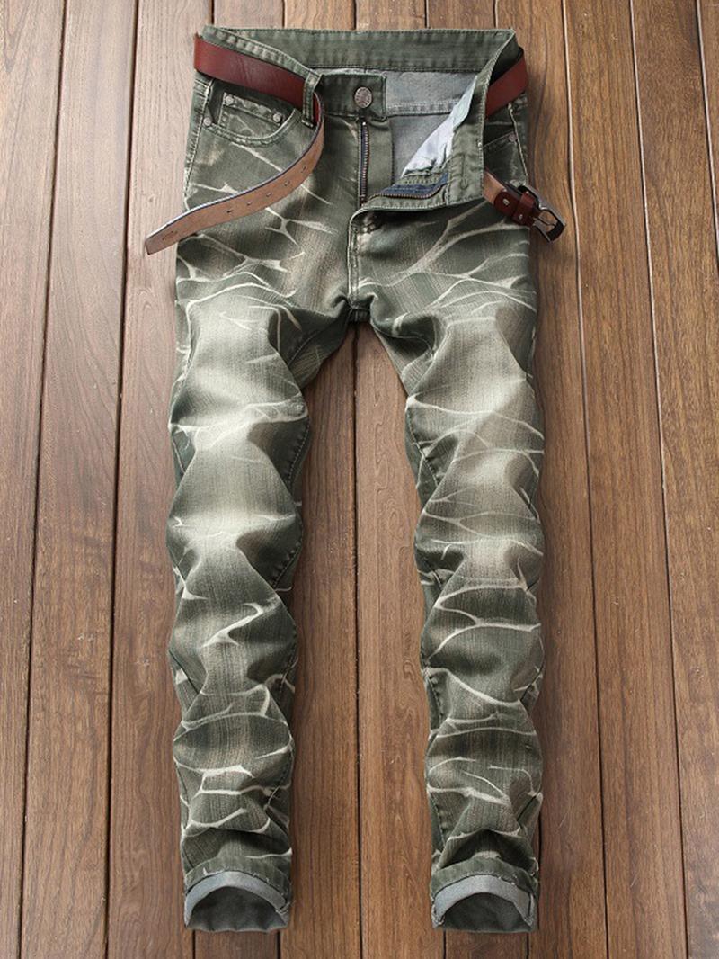 Ericdress Plain Straight Mens Cotton Denim Fabric Pants