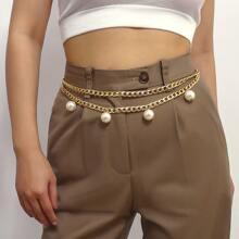 Faux Pearl Decor Waist Chain Belt