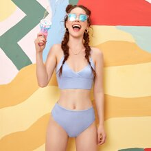 Gerippter Bikini Badeanzug mit hoher Taille