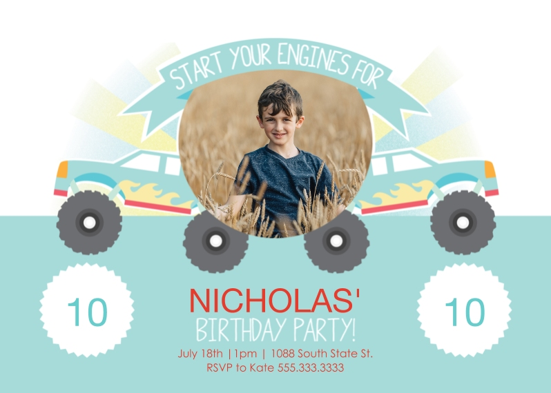 Kids Birthday Party Invites 5x7 Folded Cards, Premium Cardstock 120lb, Card & Stationery -Monster Truck Birthday