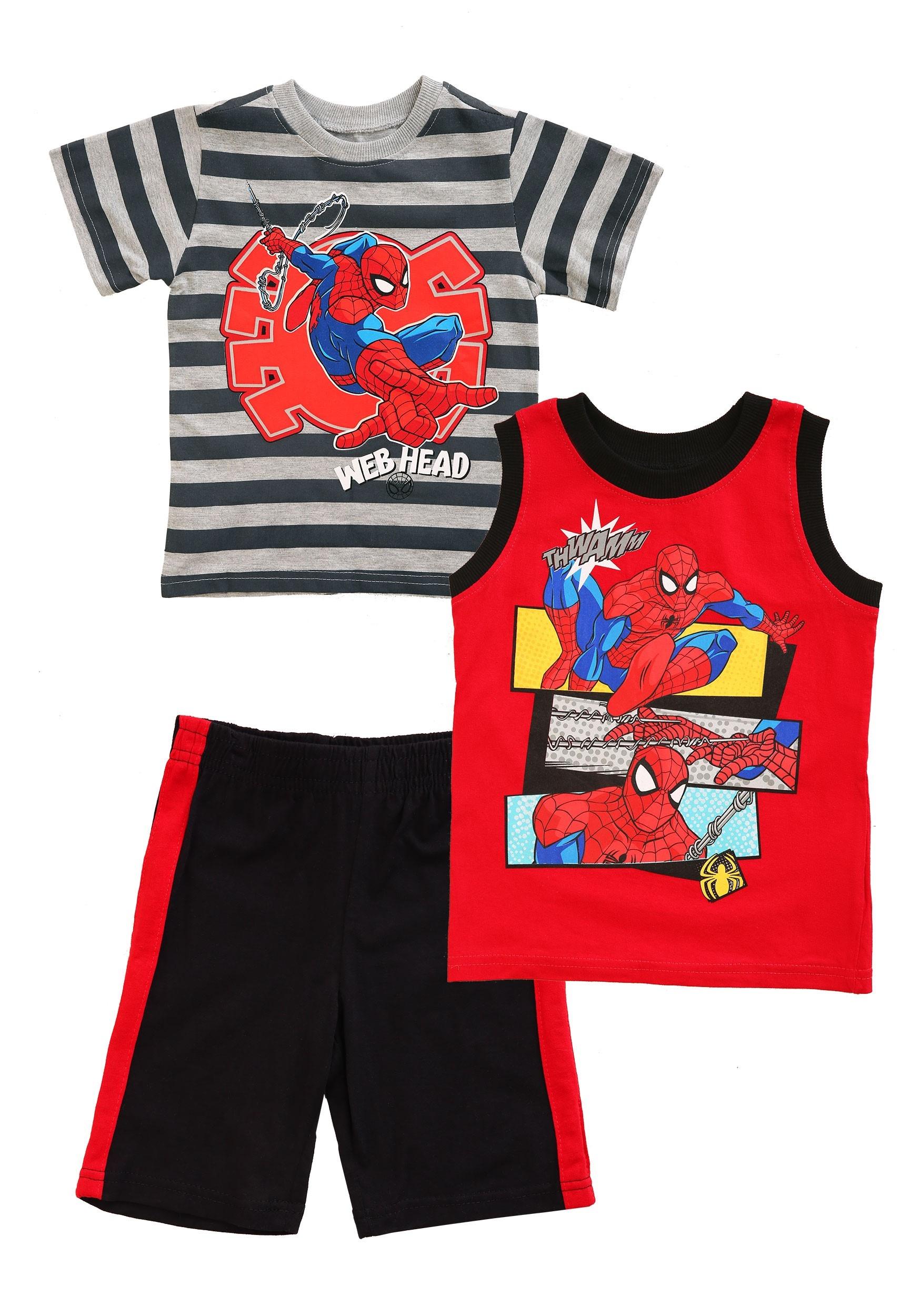3 Piece Toddler Spider-Man Web Head Shirt, Tank and Short Set