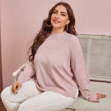 Pullover mit Stehkragen und sehr tief angesetzter Schulterpartie