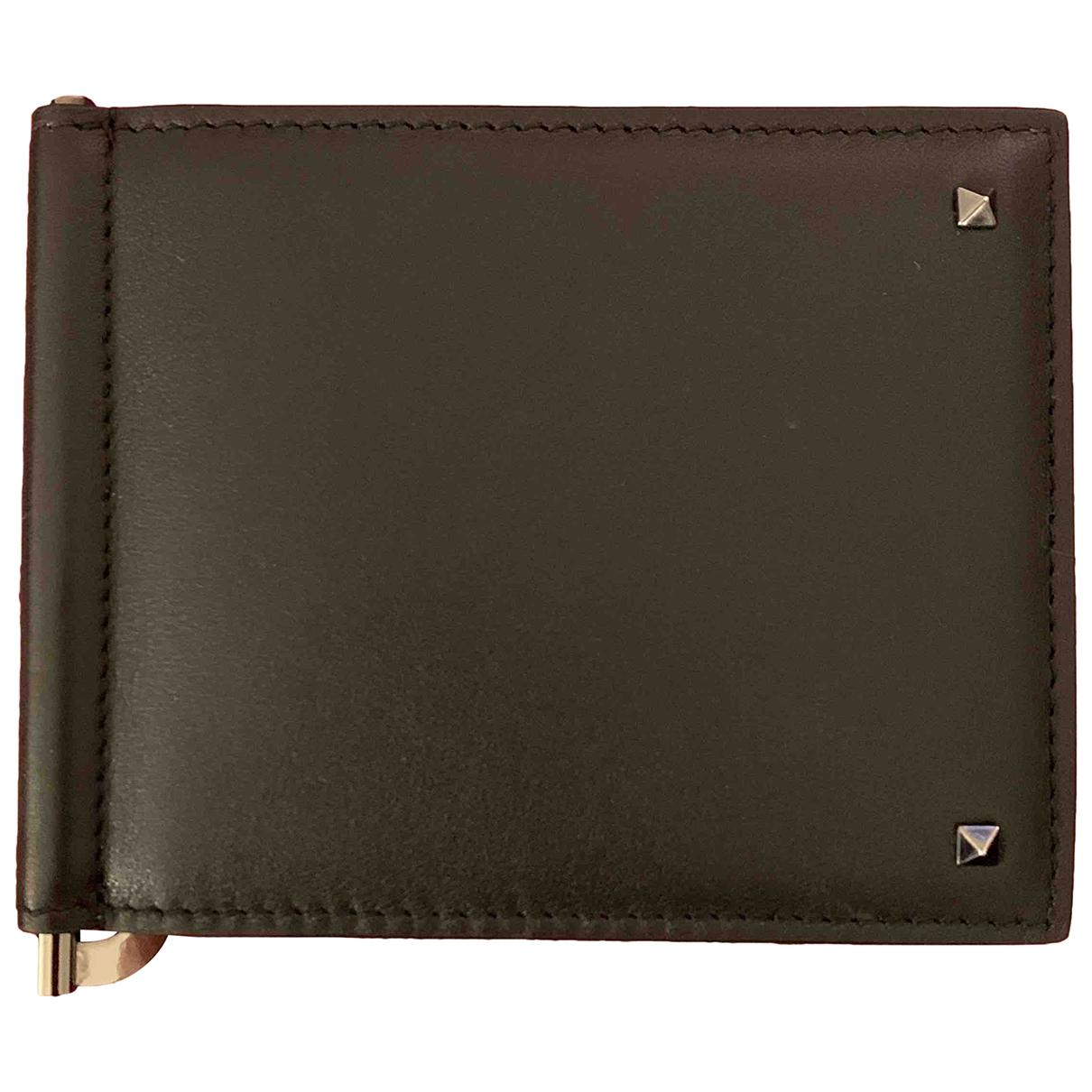 Valentino Garavani \N Black Leather Small bag, wallet & cases for Men \N