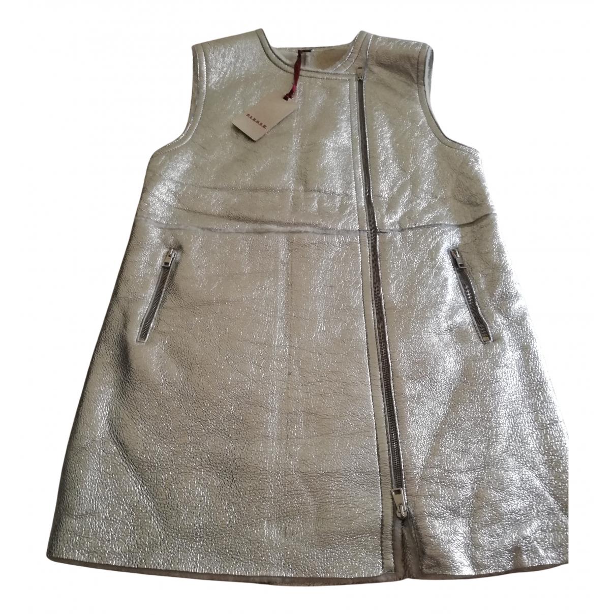 Parosh \N Kleid in  Silber Leder