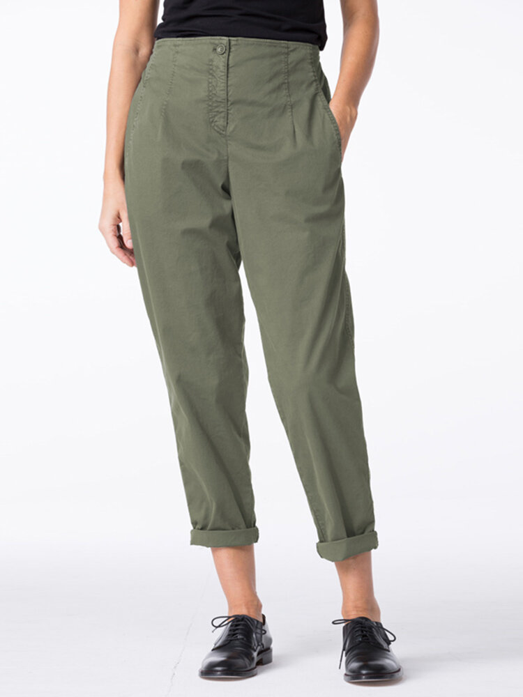 Solid Color Straight Leg Plus Size Casual Pants with Pockets
