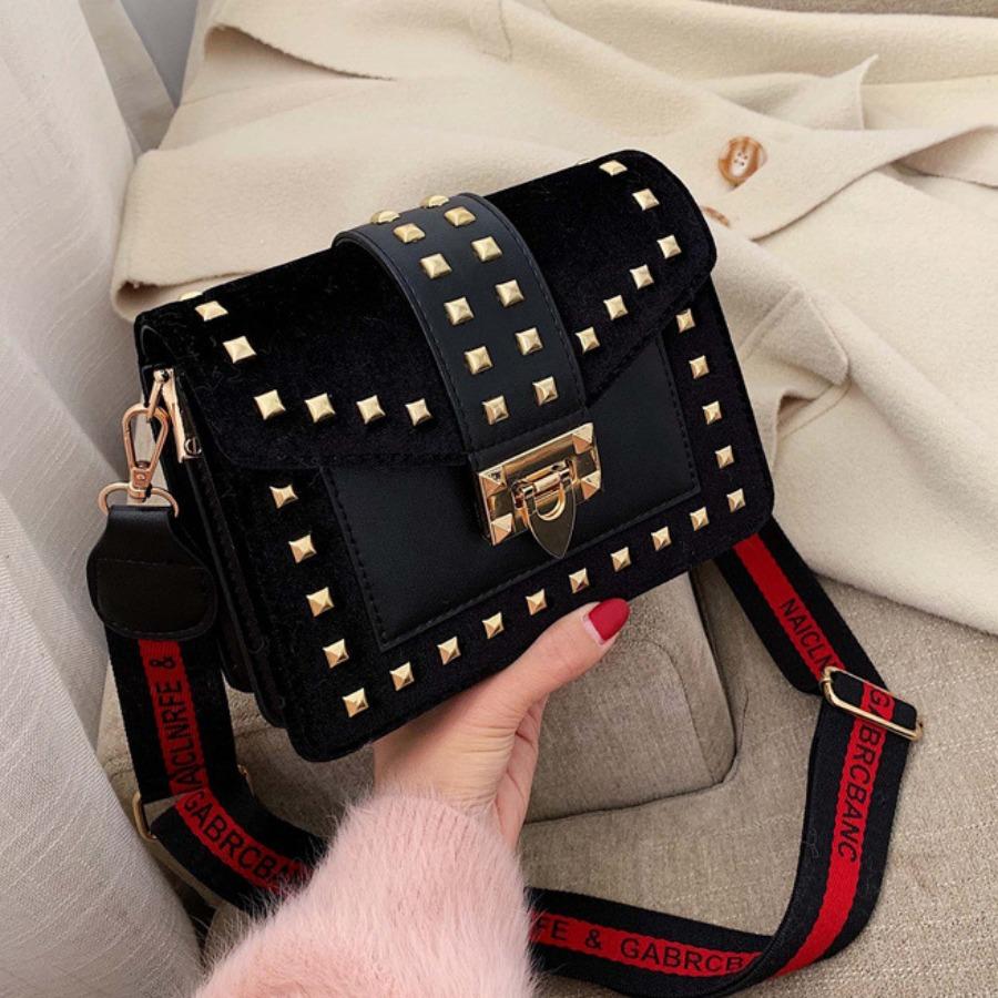 LW lovely Stylish Rivet Decorative Black Crossbody Bag