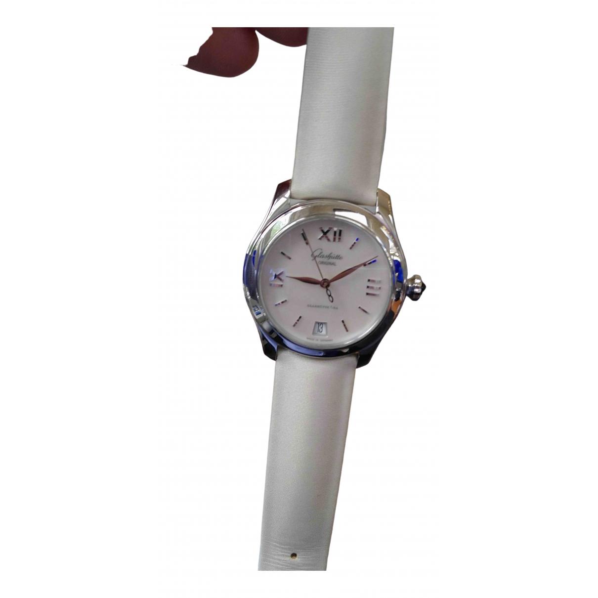 Glashuette \N Uhr in  Weiss Stahl