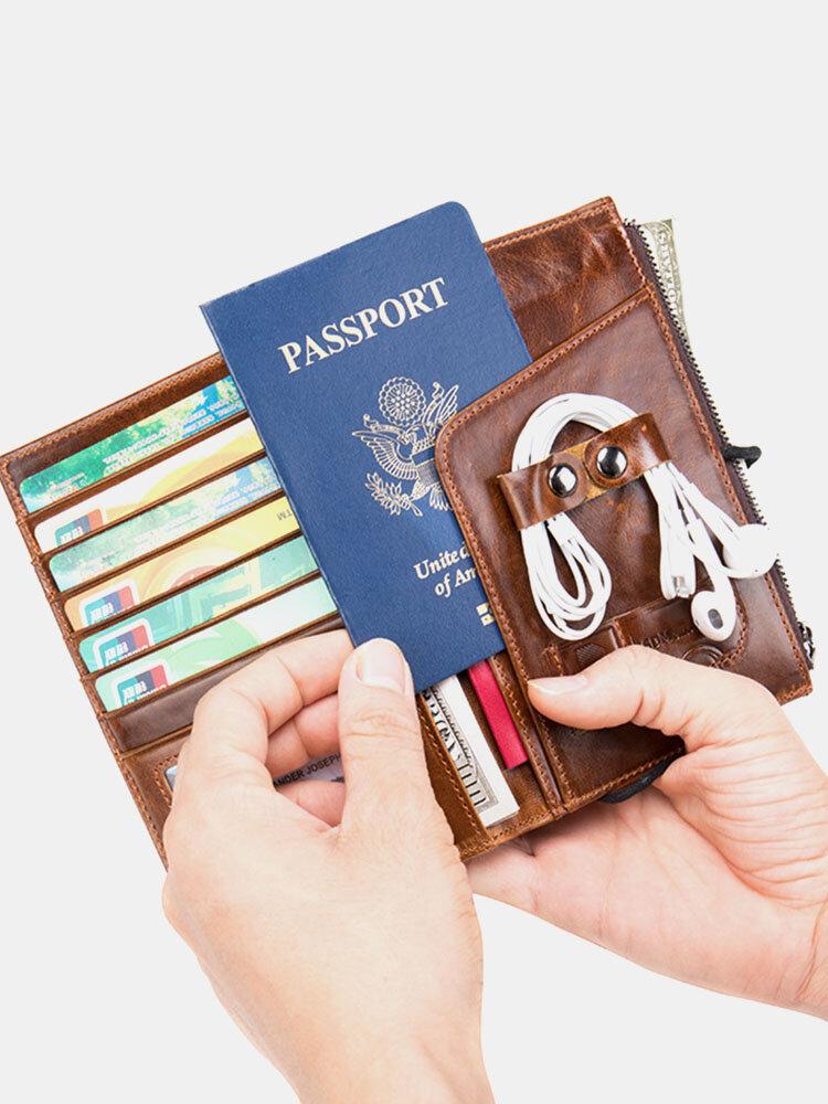 Men Genuine Leather RFID Retro Business Earphone Storage Bag Passport Card Holder Wallet
