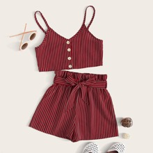 Girls Button Front Striped Cami & Belted Shorts Set