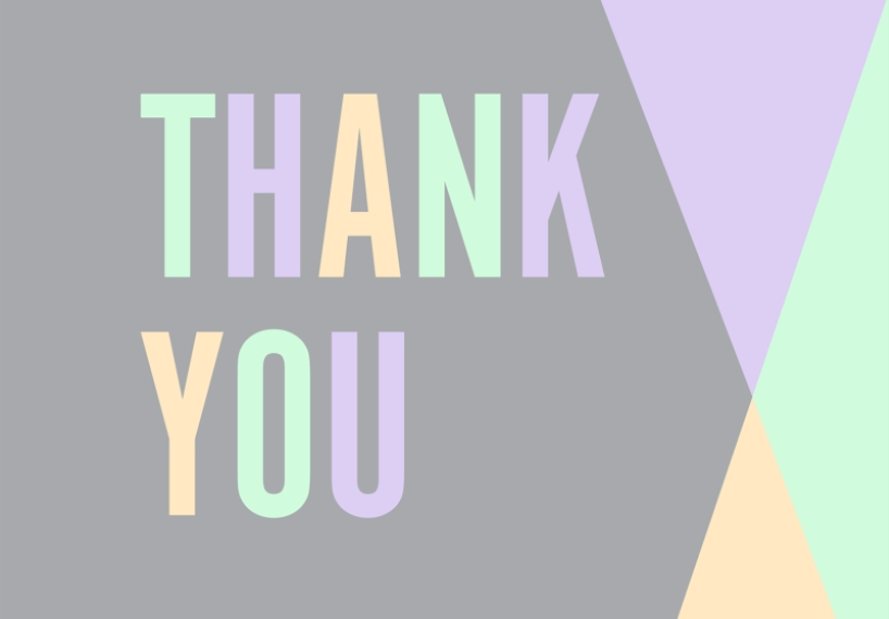 Thank You Cards 3.5x5 Folded Notecard, Card & Stationery -Tricolor Thank You