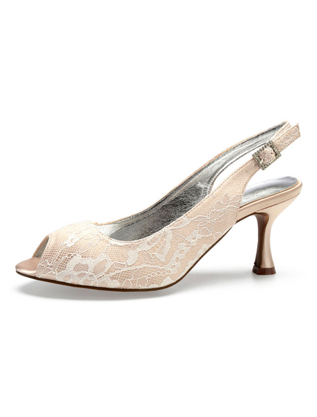 Milanoo Champagne Bridesmaid Shoes Lace Peep Toe Slingbacks Wedding Guest Shoes High Heel Bridal Shoes