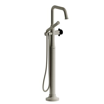 Momenti MMSQ39XBNBK-EX 2-Way Thermostatic Coaxial Floor Mount Tub Filler with x Cross Handle and Hand Shower  in Brushed