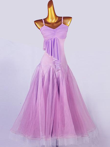 Milanoo Ballroom Dance Costumes Lavender Women\s Lycra Spandex Set Dress Dance Wear