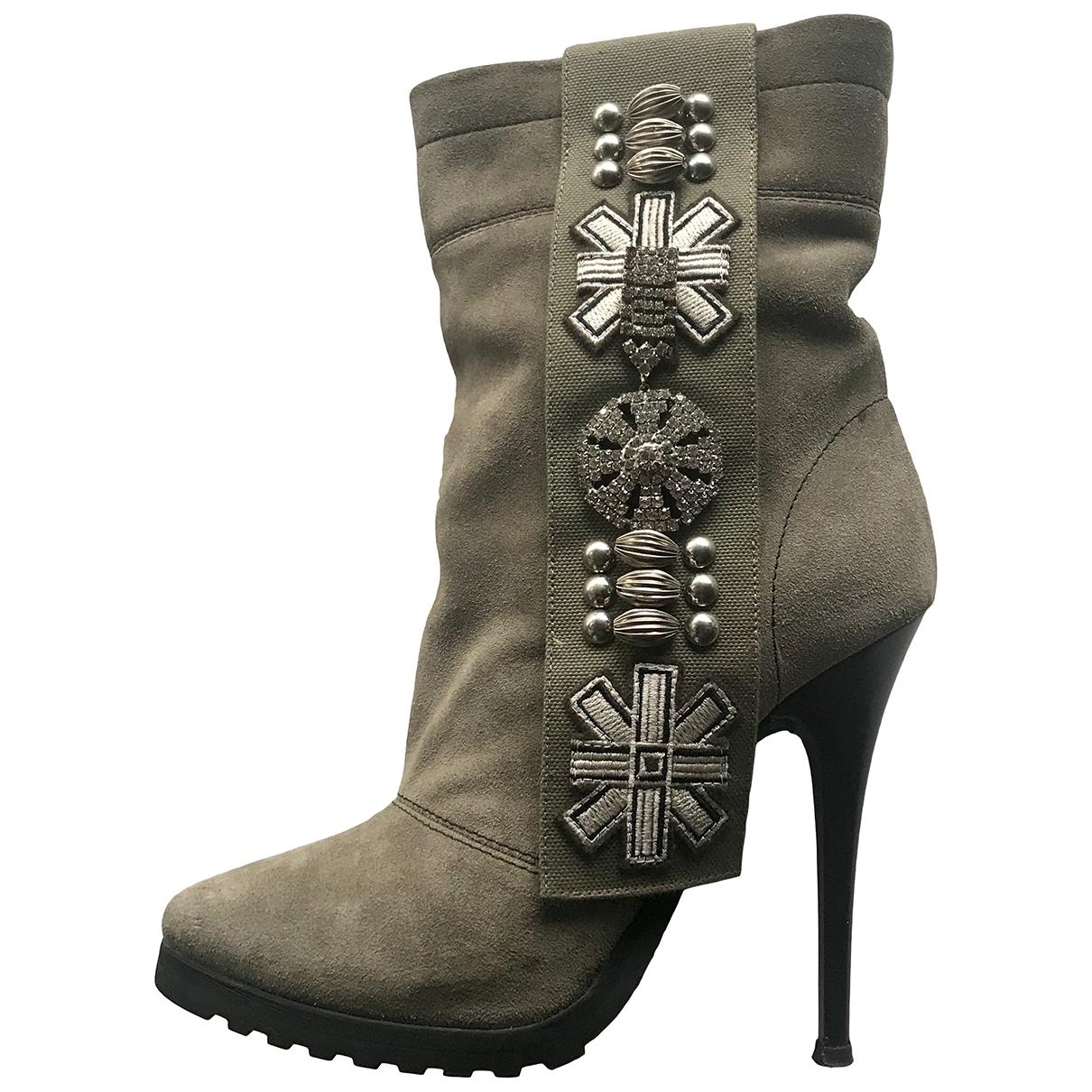 Giuseppe Zanotti \N Khaki Suede Ankle boots for Women 38 IT