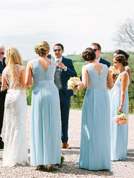 A-Line Button Sleeveless Floor-Length Bridesmaid Dress