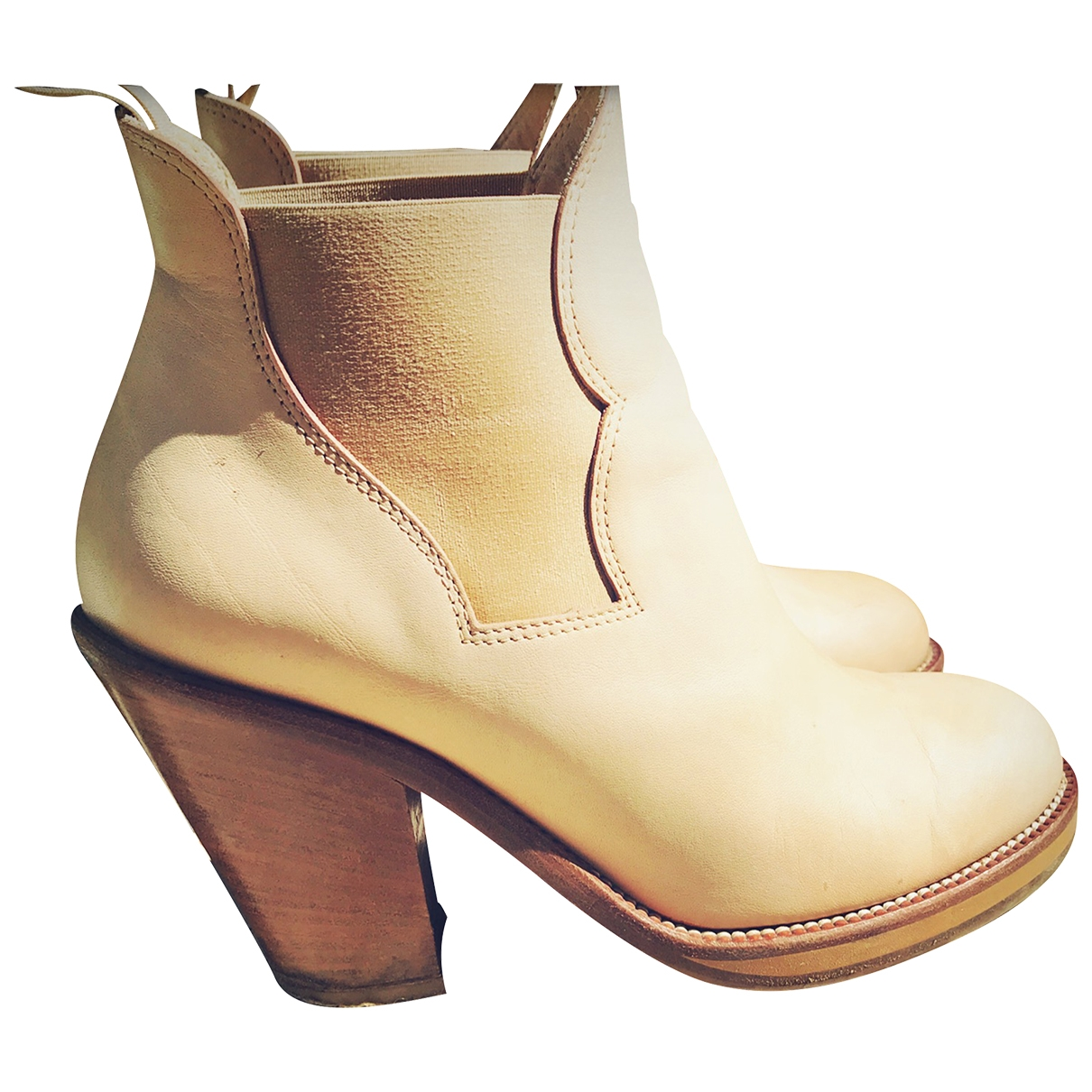 Acne Studios Pistol Beige Leather Ankle boots for Women 38 EU