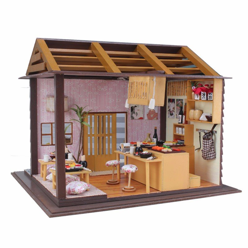 Miniature Hoomeda Sushi Bar DIY Wood Doll house With LED Furniture