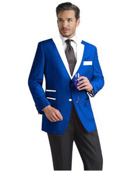 Mens 2 Button Single Breasted Royal Blue and White Lapel Tuxedo Suit