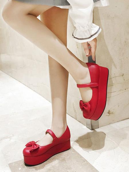 Milanoo Sweet Lolita Footwear Flatform Bows PU Leather Lolita Pumps Shoes