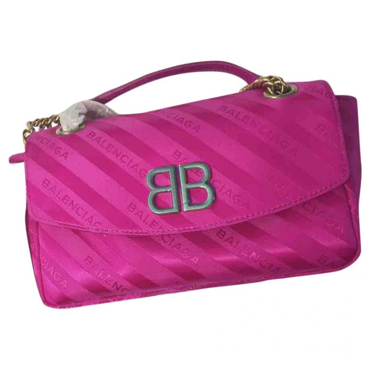 Balenciaga - Sac a main BB Round pour femme en soie - rose