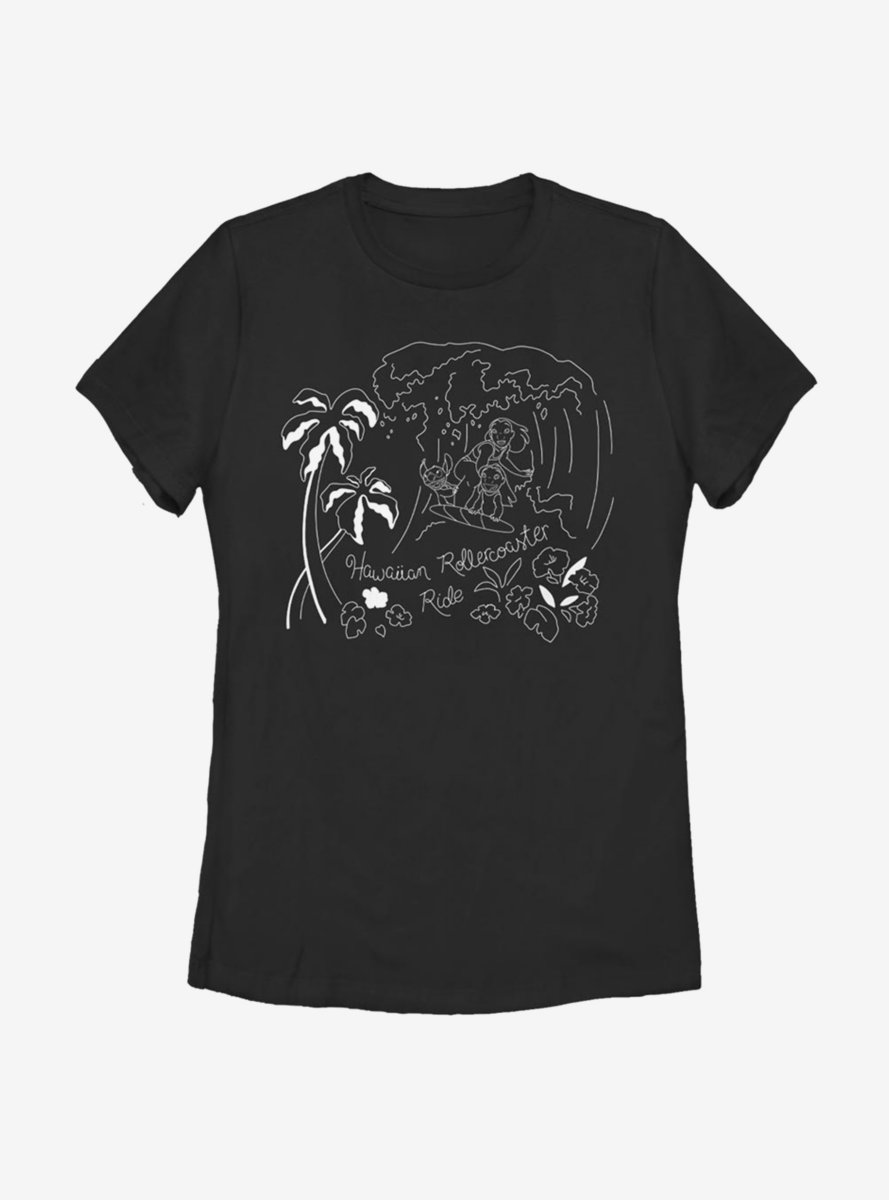 Disney Lilo And Stitch Surf Line Art Womens T-Shirt