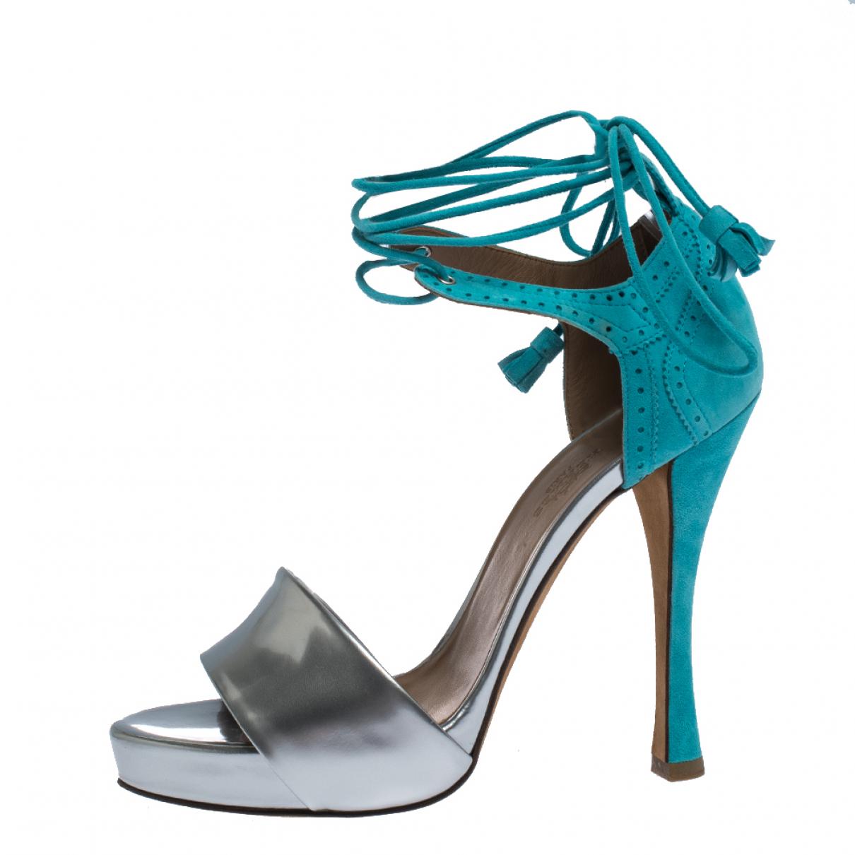 Hermes - Sandales   pour femme en cuir - bleu