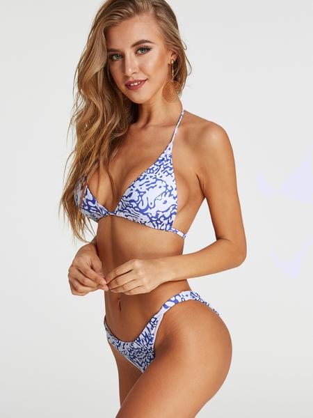 Yoins Print Halter V-neck Backless Middle Waist Bikini Set